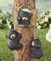 Absolutely adorable Black Bear Tree Decor livens up any landscape. Give your guests and all passersby a warm welcome. These all-weather pieces easily mount to trees with Black Bear Decor, Black Decor, Country Decor, Rustic Decor, Woodland Decor, Country Bears, Bear Theme, Ltd Commodities, Love Bear