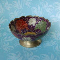 Vintage Enamel Brass Bowl India 1950s 1960s by FeraliaVintage