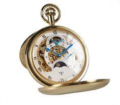 Avalon Imperiale Polished Gold-Tone 17-Jewel Mechanical Complications Skeleton Pocket Watch w Chain # 8720GX