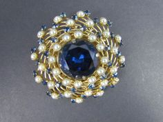 Vintage Signed JUDY LEE Sapphire Blue Rhinestone & Faux Pearl Brooch Pin #JudyLee