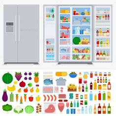 Refrigerator Full of Different Products by mountainbrothers Refrigerator collection vector flat illustration. Cooking and kitchen concept. Refrigerators in the room, variety of fruits and ve