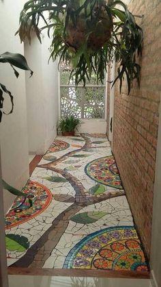 Look at this mosaic foyer AND the scrollwork filigree on the front - Floor Plants - Ideas of Floor Plants - OMGoodness! Look at this mosaic foyer AND the scrollwork filigree on the front door! Mosaic Art, Mosaic Glass, Mosaic Tiles, Mosaic Floors, Mosaic Backsplash, Kitchen Backsplash, Garden Paths, Garden Art, Garden Mosaics