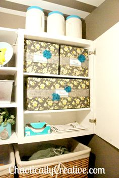 Diaper Bin Storage Boxes for craft supplies in Laundry room