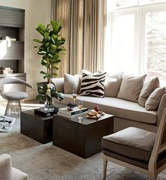 Living Room love the linen curtains & the pop of zebra