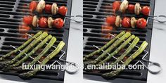 Hot 4pcs 8'' Stainless Veggie Raft Double Wide Skewers Small Stainless steel BBQ grill Clips For asparagus espeto para churrasco #asparagus, #chicken