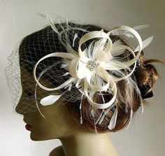 Ivory sinamay bridal fascinator - wedding headpiece - ivory wedding hat