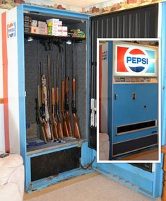 Gun Safe before and after pictures using Rifle Rods and Handgun Hangers. Gun Shop display pictures using Kikstands and Gun Cradles. American Made!