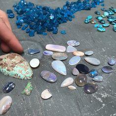 Still sorting all those #tucsonrocks2015 stones. #opal #apatite #turquoise