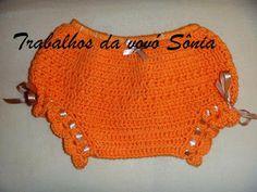 Trabalhos da vovó Sônia: Calcinha (tapa-fraldas) infantil laranja - crochê