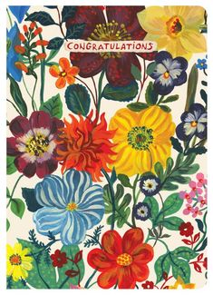 Send your sincere congratulations with this beautifully illustrated greeting card featuring delightful artwork by Nathalie Lete - Features artwork by Nathalie Lete - Bi-Fold - Includes matching envelo Art Floral, Motif Floral, Floral Prints, Art Prints, Floral Artwork, Art And Illustration, Illustrations, Of Wallpaper, Pattern Wallpaper