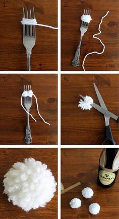 How to make a bunny tail- would be cute for Easter cards/decorations or a bunny costume (use a giant serving fork to supersize one!) crafts baskets Unique Easter Treats for Men Spring Crafts, Holiday Crafts, Diy Osterschmuck, Easter Egg Basket, Easter Table, Easter Eggs, Diy Easter Decorations, Easter Centerpiece, Diy Ostern