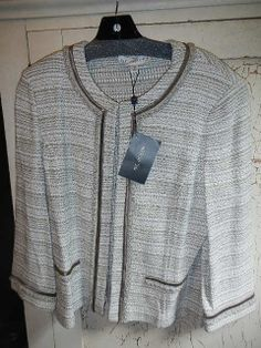 St. John Collection Blazer Jacket Santana Knit USA Tan White New 14 Sale $1195  #StJohn #Blazer