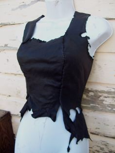 Ebony Deerskin Bodice burning man by ArchaicLeatherworks on Etsy