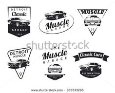 Set of classic muscle car emblems, badges and icons. Service car repair, car restoration and car club design elements.