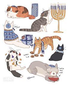 "avocados-and-avocadonts: "" hamotzi: ""happy hanukkah! Cute Animal Drawings, Animal Sketches, Cat Reference, Wow Art, Jewish Art, Cat Drawing, Cute Art, Art Inspo, Neko"