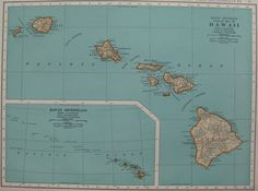 1940 Vintage HAWAII Map NEAT 1940s Antique Map of Hawaii Plaindealing 1409. $9.95, via Etsy.