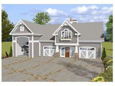 Garage Plan 74841 - Craftsman Style 3 Car Garage Apartment Plan with 1240 Sq Ft, 1 Bed, 2 Bath, RV Storage Rv Garage Plans, Boat Garage, Garage Loft, Garage Apartment Plans, Garage Apartments, Garage House, Garage Ideas, Garage Workshop, Dream Garage