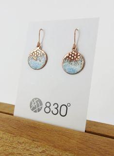 Enamel and Textured Copper Dangle Earrings
