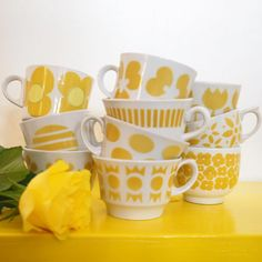Have a great weekend Finland Vintage Cups, Vintage Bottles, Vintage Dishes, Vintage Yellow, Coffee Cups, Tea Cups, Mid Century Modern Kitchen, Vintage Kitchenware, China Patterns
