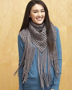 Free+Crochet+Flower+Patterns | Bernat big fringe triangle scarf in Bernat Satin Sparkle