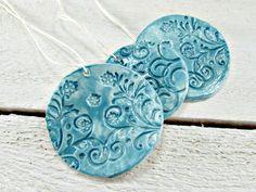 Clay Ceramic Ornaments, Aqua Blue Spring Flower Ornaments, Spring Wedding Party Favors, Spring Decor Decorations, Friend Teacher Gift Set by RedGarnetStudio