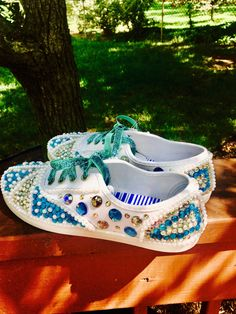 A personal favorite from my Etsy shop https://www.etsy.com/listing/525381352/party-shoes-bling-shoes-pearl-shoes-keds