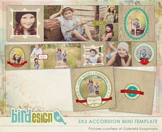 INSTANT DOWNLOAD  - Christmas Accordion mini template 3x3 - Nostalgic Christmas - E545