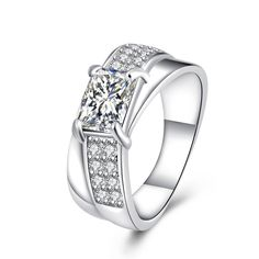 >> Click to Buy << Fashion brand jewelry silver wedding ring with cubic zirconia jewelry classic charm hot Christmas gift #Affiliate