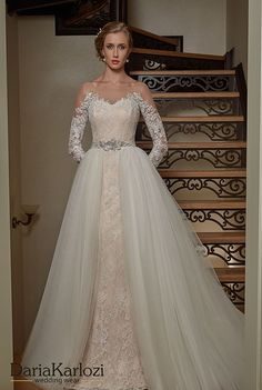 Daria Karlozi 2017 Wedding Dress gorgeous lace wedding gown with tulle overskirt