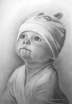 Drawing Pencil Portraits - Елена Шплатова Discover The Secrets Of Drawing Realistic Pencil Portraits Easy Pencil Drawings, Face Pencil Drawing, Pencil Drawing Tutorials, Realistic Drawings, Art Drawings Sketches, Drawing Ideas, Baby Face Drawing, Tattoo Sketches, Drawing Art