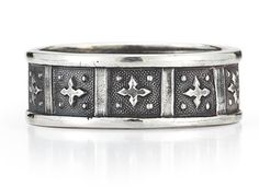 ApplesofGold.com - Antique-Style Cross Wedding Band Ring in Sterling Silver