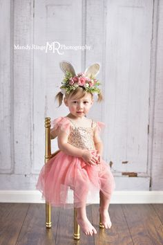 989b523de4df Toddler girl's second birthday portraits // pink and gold angel sleeve dress,  gold sequins