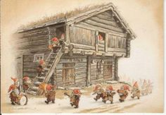 Nisse stocking up the stabbur -by Kjell Midthun Norwegian Christmas, Christmas Mood, Christmas Gnome, Vintage Christmas, Scandinavian Gnomes, Scandinavian Christmas, Norwegian Vikings, Illustrations, Illustration Art