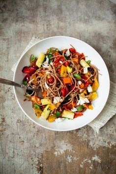 Roasted vegetables and spelt spaghetti pasta recipe