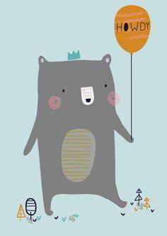 Aless Baylis 'A4 Poster Howdy Bear'