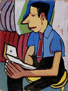 Seated Man with Book ca. 1939-1940 William H. Johnson, born Florence, SC 1901-died Central Islip, NY 1970 Unidentified recto: tempera on paper verso: pencil and tempera on paper recto: 24 x 18 in. (61.0 x 45.7 cm) verso: 18 x 24 in. (45.7 x 61.0 cm) Smithsonian American Art Museum, Gift of the Harmon Foundation 1967.59.330R-V