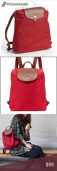 Longchamp Red Backpack  Purchased from another Posher but haven't made use of the bag. It's a great bag for traveling or a weekend trip. Great condition like new. No holes or tears etc. Longchamp Bags Backpacks