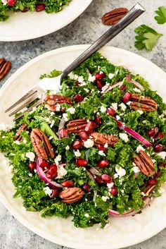 12 Foods You Should Always Keep Stocked In Your Kitchen - Winter Salad with Kale and Pomegranate