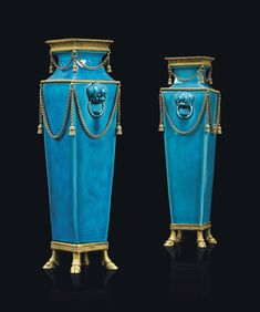 A PAIR OF LATE LOUIS XVI ORMOLU-MOUNTED TURQUOISE CHINESE PORCELAIN VASES THE PORCELAIN QIANLONG (1736-1795), THE MOUNTS CIRCA 1790 Estimate GBP 7,000 - GBP 10,000 (USD 8,827 - USD 12,610)
