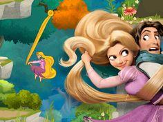 Corri, salta e arrampicati per aiutare Rapunzel e Flynn a fuggire dalle guardie e da Maximus.