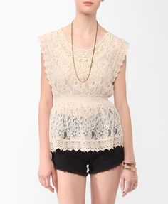 Lace Cap Sleeve Top | FOREVER21 - 2000039239