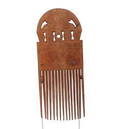 Hand Carved Akan Wood Comb #1619 | Combs | Artifacts — Deco Art Africa - Decorative African Art - Ethnic Tribal Art - Art Deco