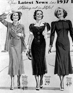 Stepping out in style, Eaton's Spring Summer p. Vintage Outfits, Retro Outfits, Vintage Dresses, 1930s Fashion, Retro Fashion, Vintage Fashion, Victorian Fashion, Gothic Fashion, Fashion Through The Decades