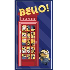 """MINIONS NAVY-BELLO! TELEPHONE PANEL 24"""" Item# 24311-N  Minions Movie Quilting Fabric - Buy at Tea Time Quilting $9.50 each"""