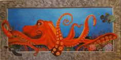 "Octopus 3D Painting 10""x 20"" free shipping , view link for details."