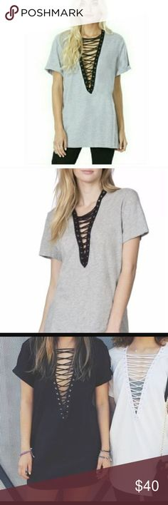Emma and sam Grey with black lace up t-shirt dress only worn one time LF Tops