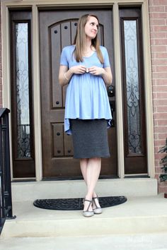 V-neck shirts, pencil skirt, and high heels