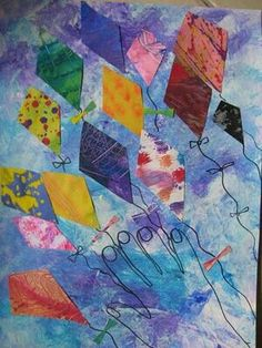 collage kites mary making art Stunning Spring Art Projects for Kids - One Time Through Spring Art Projects, Art Projects Kids, Collaborative Art Projects For Kids, Paper Art Projects, Art Education Projects, Kindergarten Art Projects, School Art Projects, Art Texture, Texture Art Projects