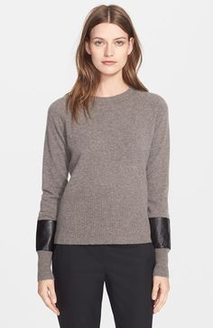 Veda 'Ash' Cashmere Sweater with Leather Contrast available at #Nordstrom