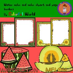 Water melon and melon clipart and page borders Water Melon, Page Borders, My World, Small Gifts, Clip Art, Black And White, Image, Color, Little Gifts